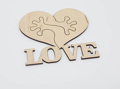 Дерев'яні заготовки з фанери. LOVE, пазл. 11.5х11см