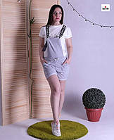 Комбинезон женский с бриджи летний на бретелях однотонный серый 42-50р.