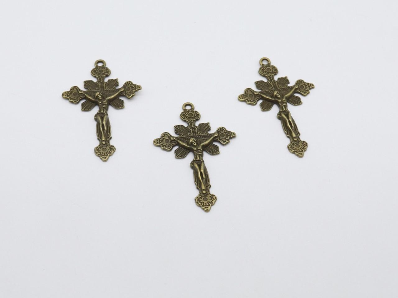 Металлические элементы. Крест. Цвет античная бронза. 45х30мм