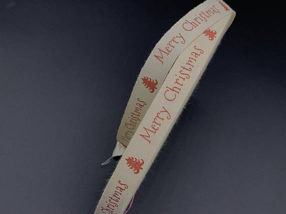 Стрічка декоративна з візерунком. Merry Christmas. 1,5 см, фото 2