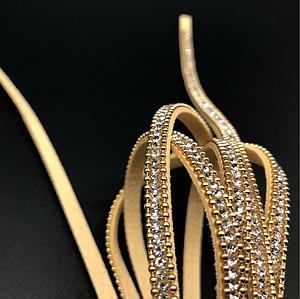 Шкіряні шнурки з камінчиками. Колір золото. 120см 5мм