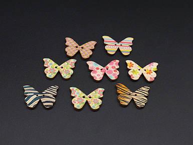 Ґудзик метелик дерев'яна. Колір мікс. 28х20мм