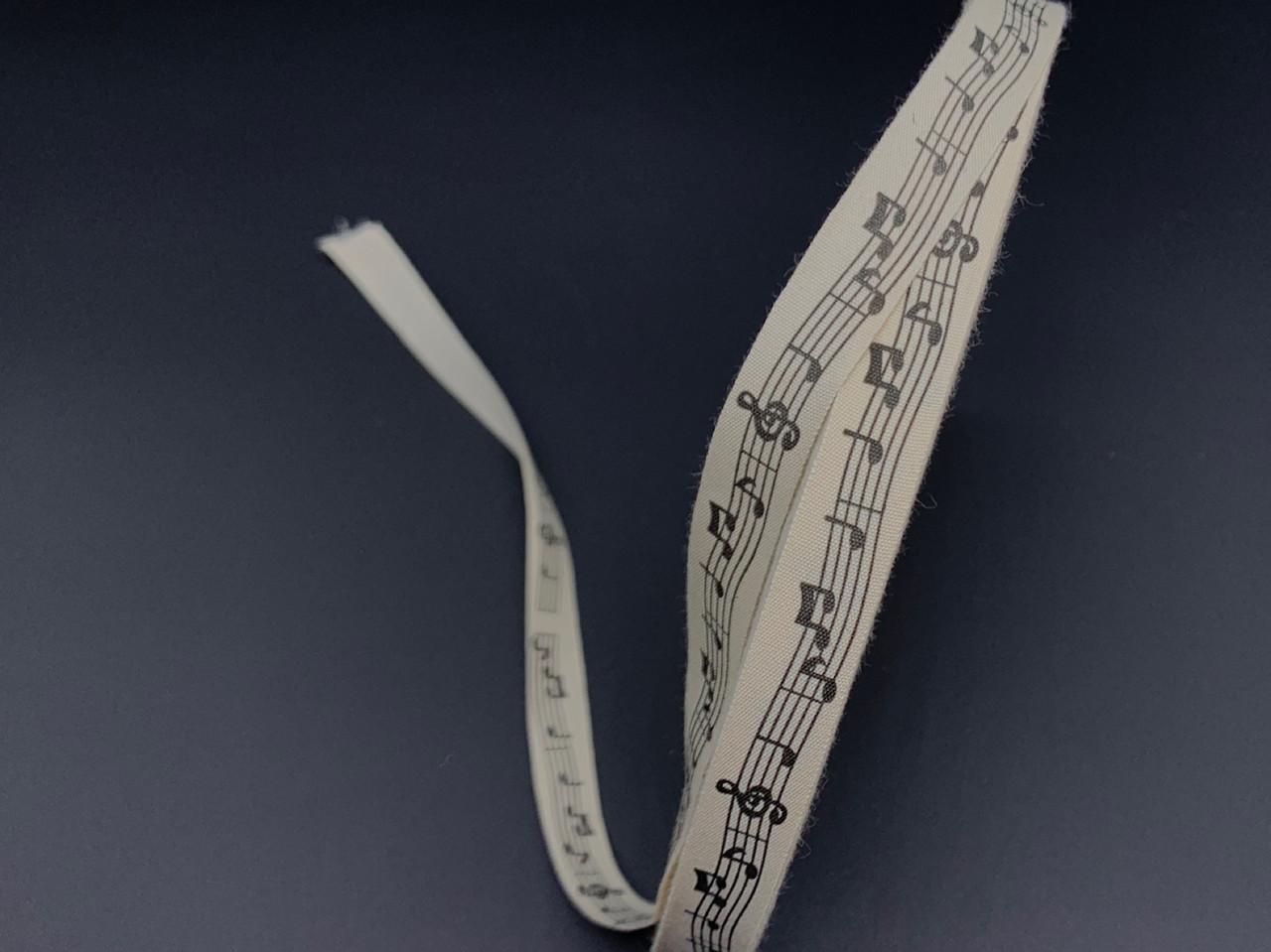 Стрічка декоративна з візерунком. Музичні ноти. 1,5 см