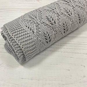 Плед вязанный елочка цвет серый 95*75 см (90% хлопок, 10% акрил)