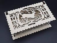 Шкатулка-заготовка из фанеры под украшения. 20х11см