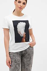Жіноча футболка з принтом чорний-Пір'я білі Boy-2