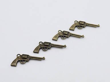Металеві накладки. Пістолет. Колір антична бронза. 36х15мм