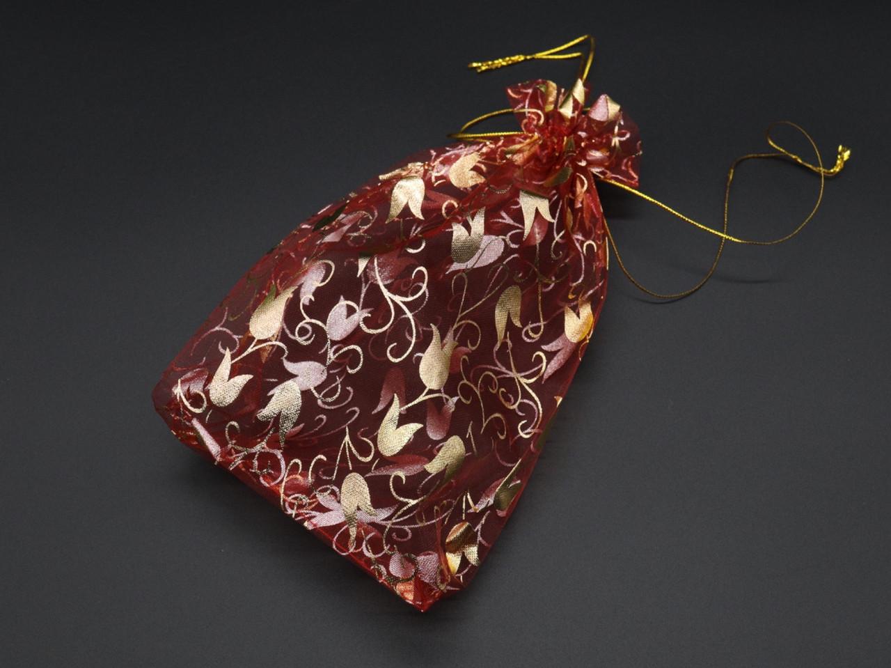 Подарункові мішечки з органзи. Колір червоний тюльпан. 17х23см