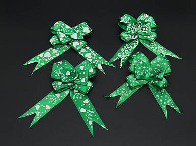Подарункові банти на затягуваннях. Колір зелений.