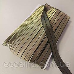 Трикотажная косая бейка (эластичная, стрейч) 2см х 30м (золото) (657-Л-0711)