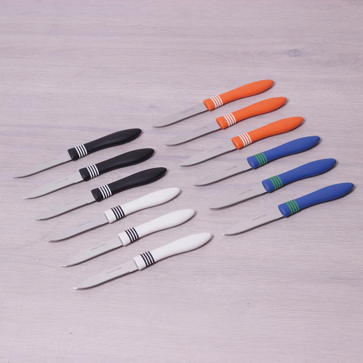 Набір ножів для очищення 12 шт з нержавіючої сталі з пластиковими ручками Kamille