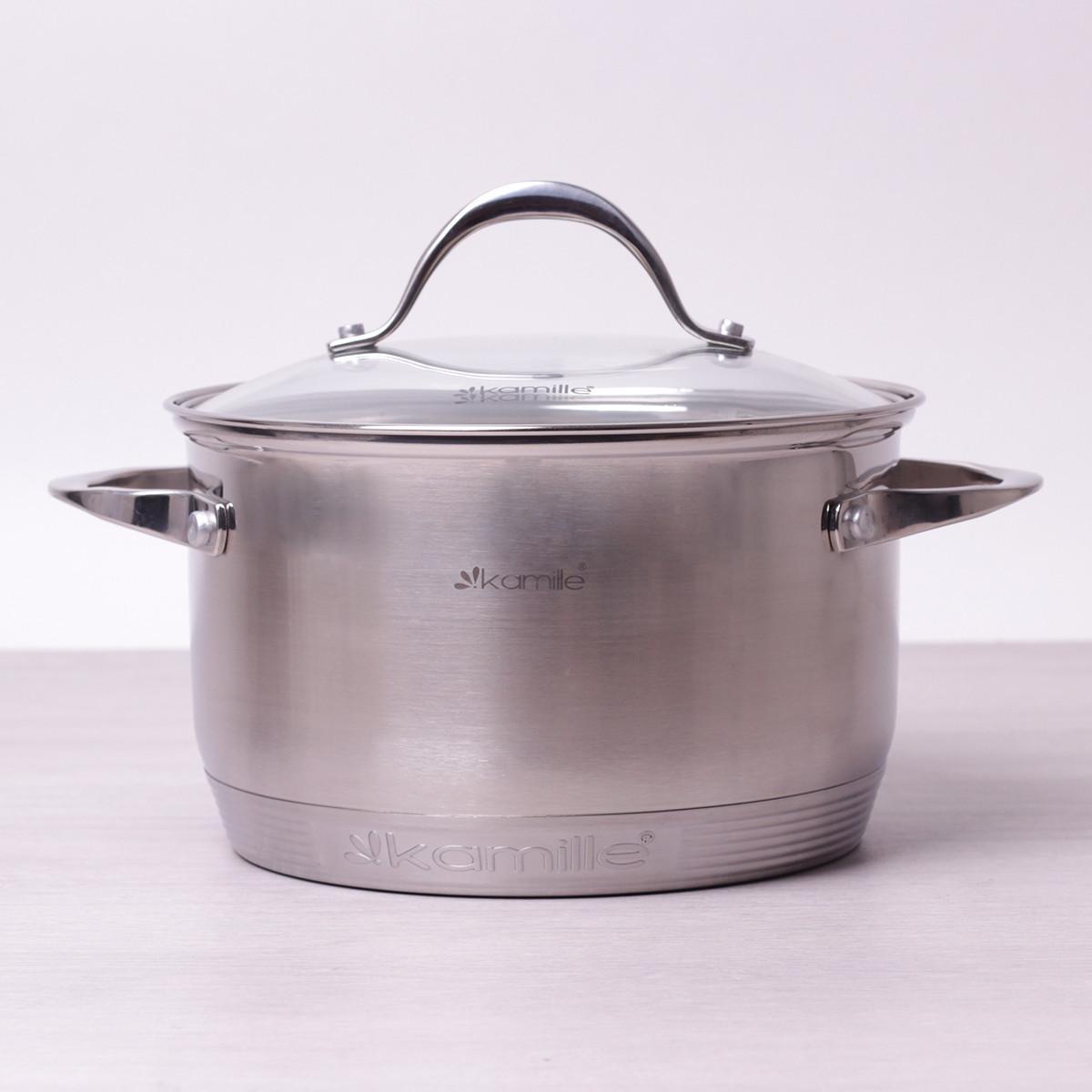 Кастрюля для индукционной плиты 3.3 л из нержавеющей стали с крышкой и 7-слойным дном Kamille