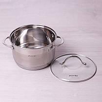 Кастрюля для индукционной плиты 3.3 л из нержавеющей стали с крышкой и 7-слойным дном Kamille, фото 3