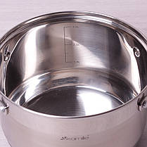 Кастрюля для индукционной плиты 3.3 л из нержавеющей стали с крышкой и 7-слойным дном Kamille, фото 2