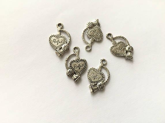 Кулон сердце. Цвет античное серебро. 24мм, фото 2