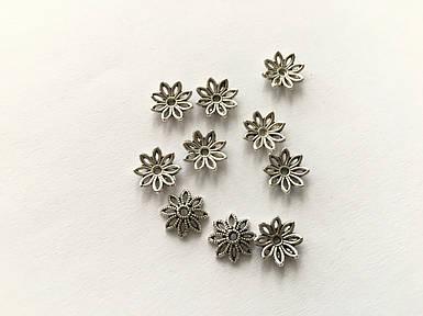 Обниматель для намистин. Колір античне срібло. 9,5 мм