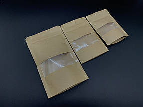 Пакети дой-пак з прозорим вікном і з zip-застібкою. 16х19+3см, фото 3