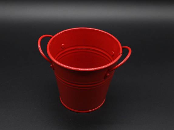 Декоративне металеве відро. Колір червоний. 10см, фото 2