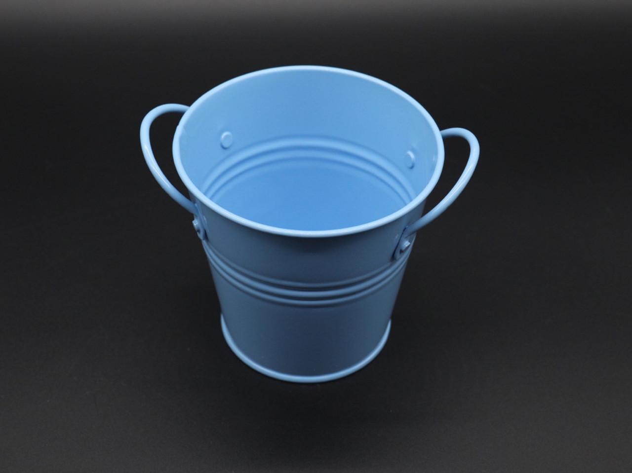 Декоративне металеве відро. Колір блакитний. 10см