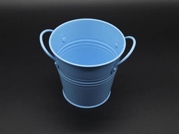 Декоративне металеве відро. Колір блакитний. 10см, фото 2