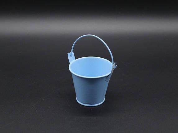 Декоративне металеве відро. Колір блакитний. 7см, фото 2