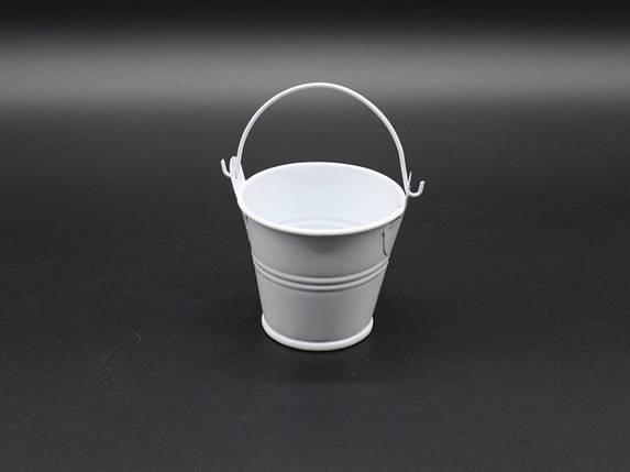 Декоративное металлическое ведро. Цвет белый. 7см, фото 2