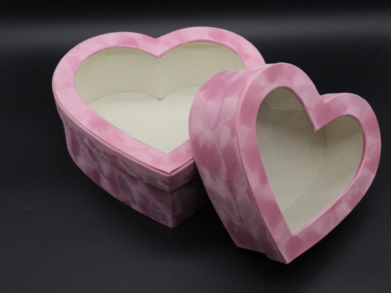 Коробки подарункові серце. 2шт/комплект. Колір рожевий. 26х25х10см