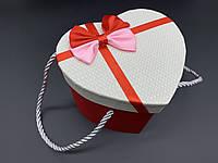 Коробка подарочная, сердце с ручками и бантиком. Цвет бело-красный. 15х12х12см.