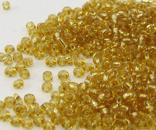 Бісер круглий золотистий (прозорий) 110г, фото 2