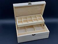 Шкатулка-органайзер для прекрас с замком и петлями. 23,5х16,5х9см