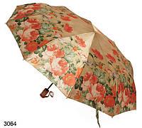 Зонт женский автомат коричневый с пионами, фото 1