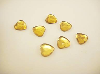 """Стрази """"Серце"""" жовті 6мм"""