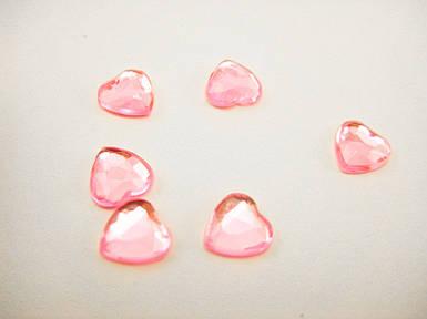 """Стрази """"Серце"""" рожеві 10мм"""