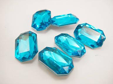 Стрази прямокутні блакитні 10*14мм