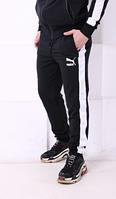 Штаны черные с белым лампасом и значком PUMA