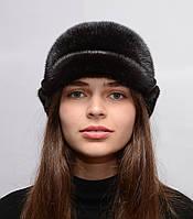 Женская зимняя шапка из цельной норки Жокейка отворот, фото 1