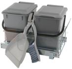 Система для отходов: 2 ведра серых на направляющих шариковых + совок и щётка, 300×510×320 мм, F3M