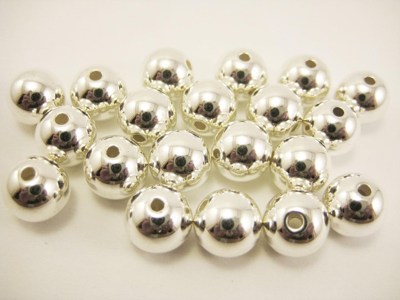 Бусины серебряные с отверстием 10 мм