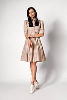 Светлое женское платье летнее в мелкий горошек