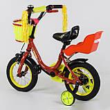 """Велосипед 12"""" дюймів 2-х колісний """"CORSO"""" Червоний , ручного гальма, дзвіночок, сидіння з ручкою, доп. колеса, фото 2"""