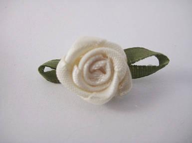 Квітка Троянда бежева з листочками