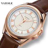 Стильные мужские наручные часы кварцевые на ремешке Yazole Quartz 336 Silver-White-Brown Оригинал