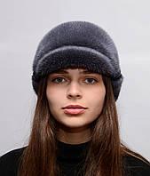 Женская зимняя шапка из цельной норки Жокейка отворот Баклажан