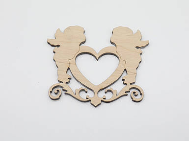 Дерев'яні заготовки з фанери. Ангели і серце.