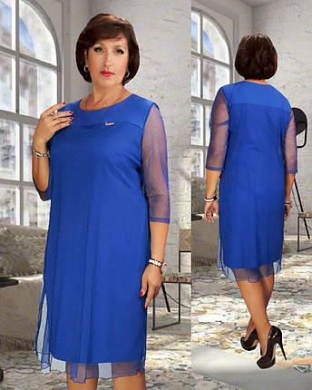 """Стильное женское платье с вшитой накидкой, ткань """"Софт"""" 50, 52, 54 размер 50, фото 2"""