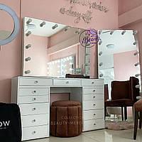 Стол для визажиста, гримерный столик с высоким зеркалом со стеклом на столешнице, цвет - белый