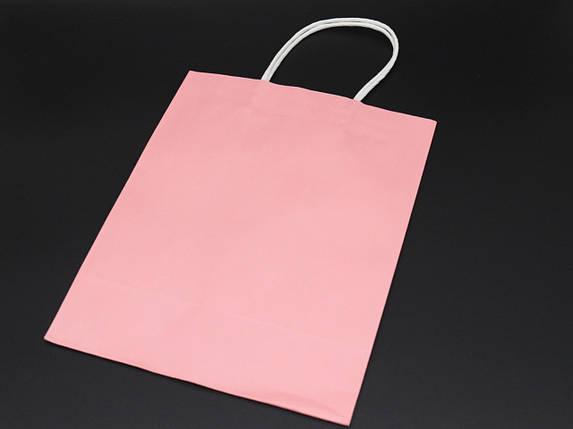 Крафт пакети. Колір світло-рожевий. 21х27х11см, фото 2