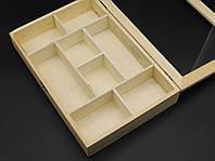 Шкатулка-органайзер для декупажа с замком и петлями. 30х20х5см