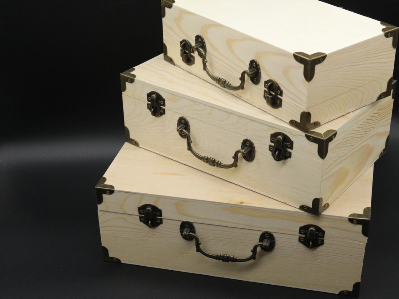 Скринька для декупажу з замком, завісами і ручкою. Три шт/комплект. 30х20х10см