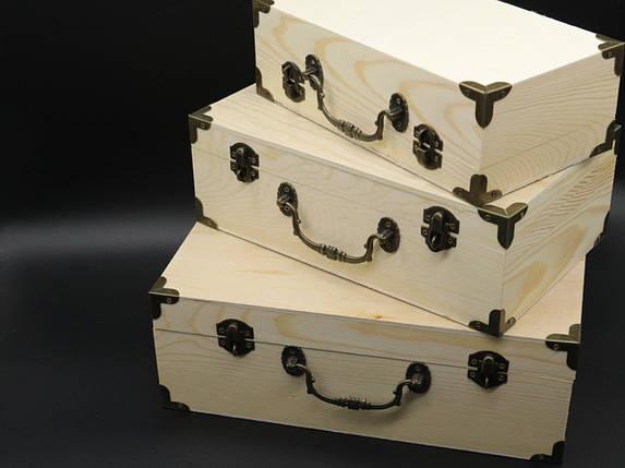 Скринька для декупажу з замком, завісами і ручкою. Три шт/комплект. 30х20х10см, фото 2